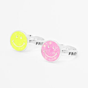 Silver Best Friends Smiley Face Rings - 2 Pack,