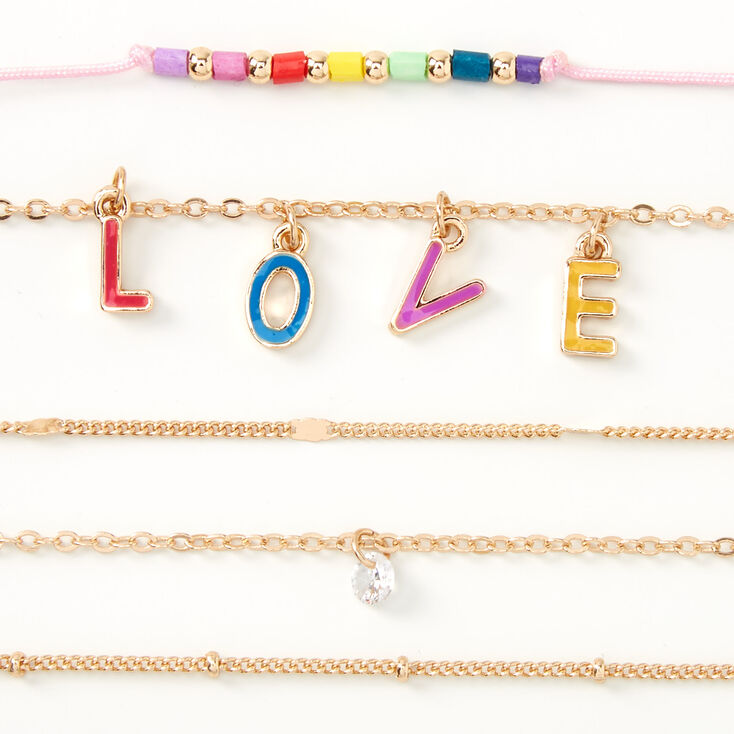 Gold Rainbow Love Chain Bracelets - 5 Pack,