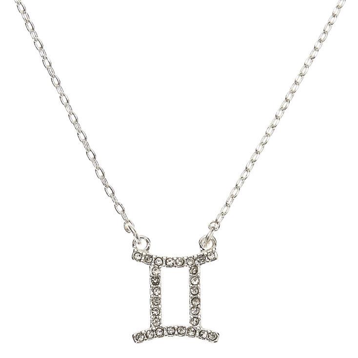 Silver Zodiac Pendant Necklace - Gemini,