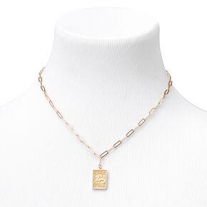 Gold Rectangle Zodiac Symbol Pendant Necklace - Capricorn,
