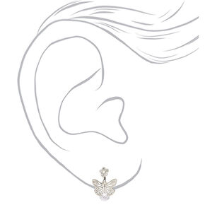 """Silver 0.5"""" Crystal Butterfly Clip On Drop Earrings,"""
