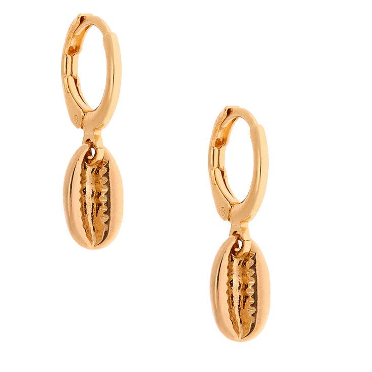 Gold 10MM Cowrie Shell Huggie Hoop Earrings,