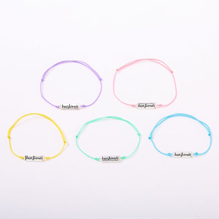 Pastel Plaque Adjustable Friendship Bracelets - 5 Pack,