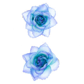 Glitter Flower Hair Clips - 2 Pack, Blue,