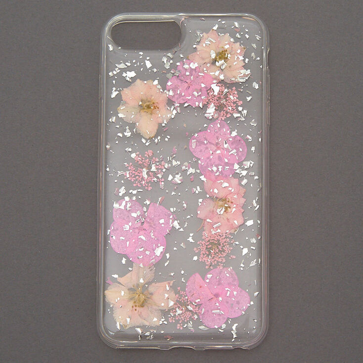 Pink Pressed Flower Phone Case - Fits iPhone 6/7/8 Plus,