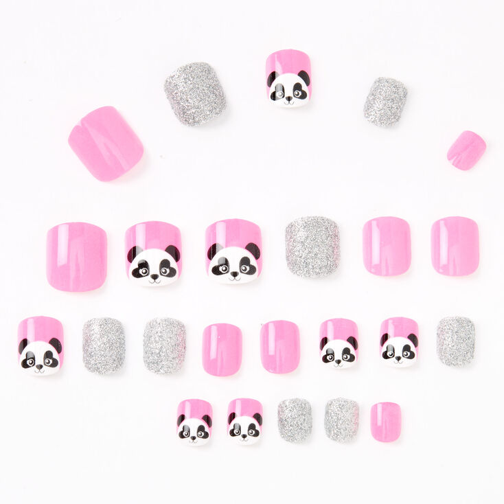 Panda Square Press On Faux Nail Set - Pink, 24 Pack,