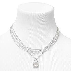 Silver Embellished Padlock Multi Strand Pendant Necklace,