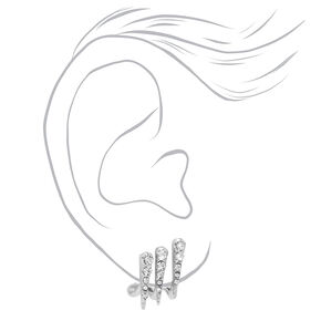 Triple Spike Crystal Stud Earrings - Silver,