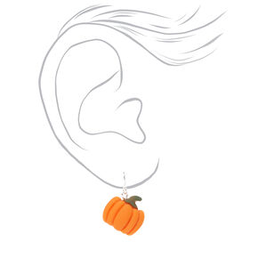 "Silver 0.5"" Pumpkin Drop Earrings - Orange,"