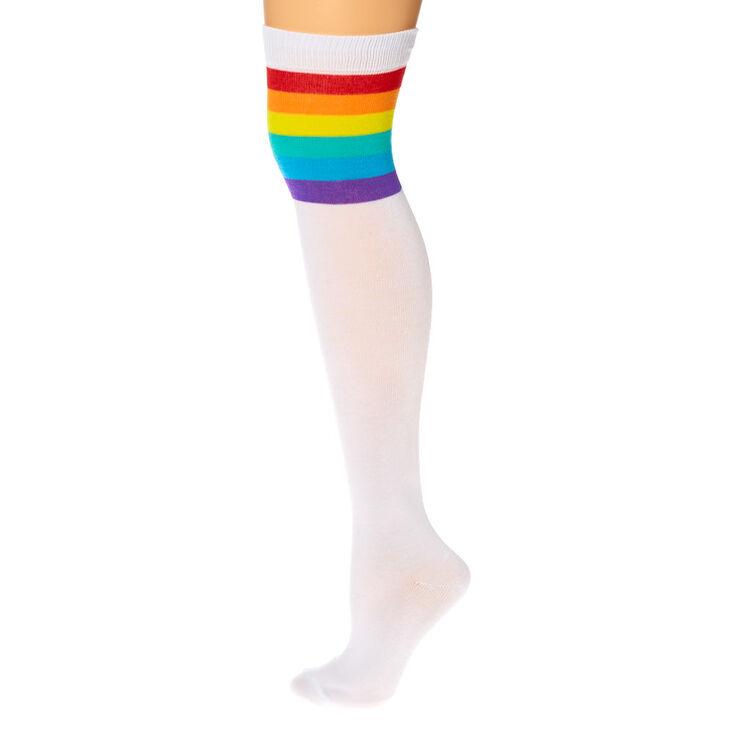 Rainbow Striped Over the Knee Socks - White,