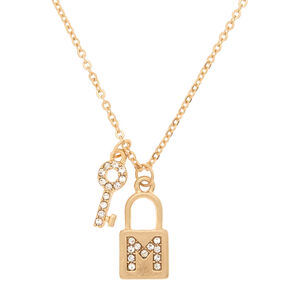 Gold Lock & Key Initial Pendant Necklace - M,