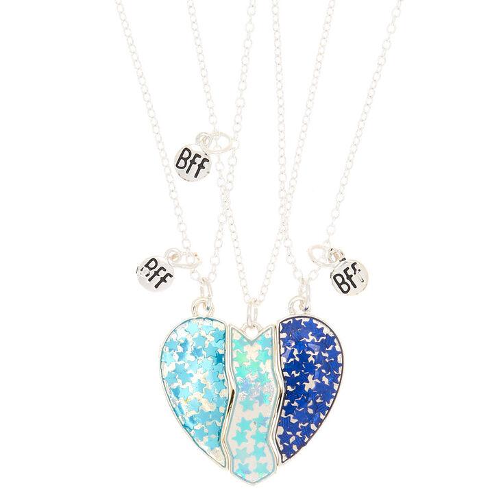 Lot De 3 Colliers D Amitie A Pendentif Cœur Holographique Bleu