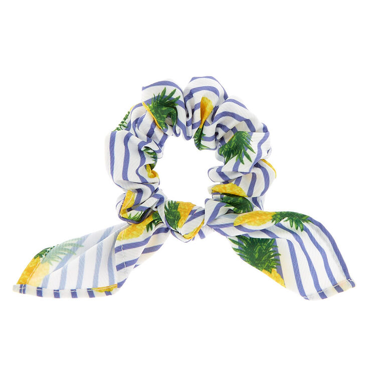 Small Pineapple Striped Knotted Bow Hair Scrunchie,