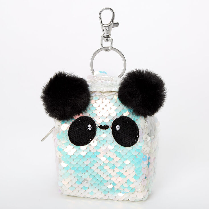 Panda Iridescent Sequin Mini Backpack Keychain - White,