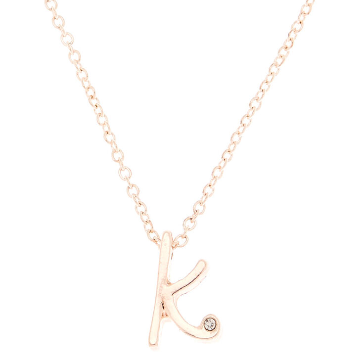 bbe629ad417eb3 Rose Gold Cursive Initial Pendant Necklace - K | Claire's US