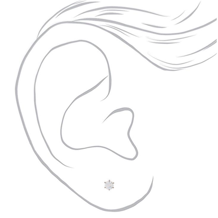 Silver Titanium Cubic Zirconia 4MM Round Stud Earrings,