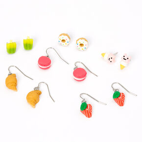 Silver Bakery Treats Mixed Earrings - 6 Pack,