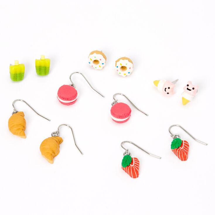 Silver Bakery Treats Mixed Earrings - 6 Pack,