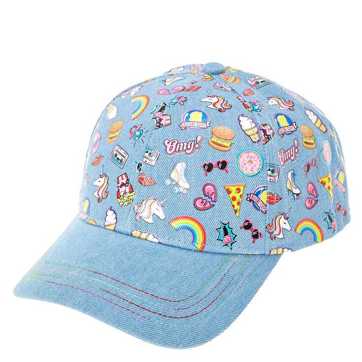 Rainbow sticker denim baseball cap