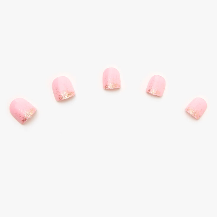 Claire's Club Gold Glitter Faux Nail Set - Pink, 10 Pack,