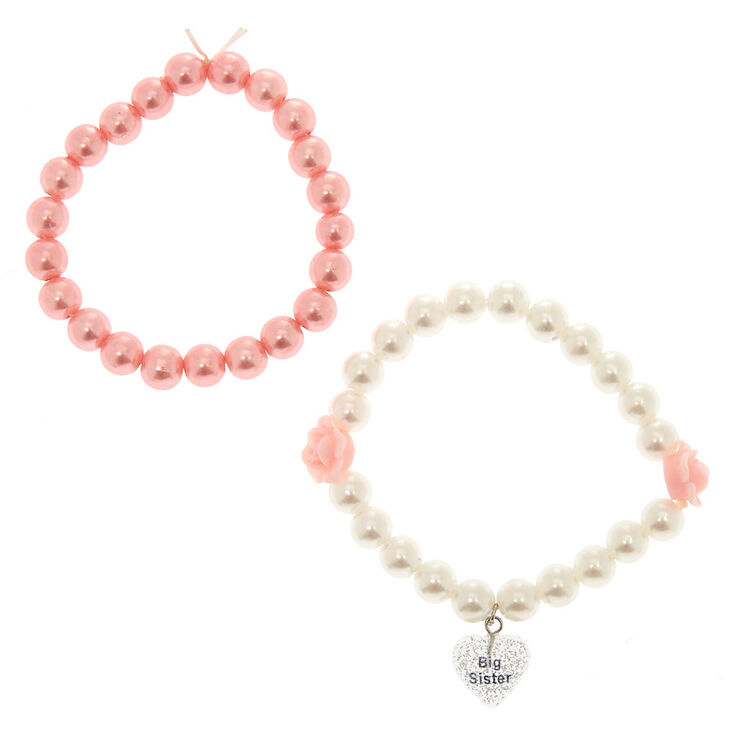 Claire's Club Pearl Big Sister Bracelets - 2 Pack,