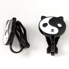 Black Yin Yang Panda Clip On Stud Earrings,