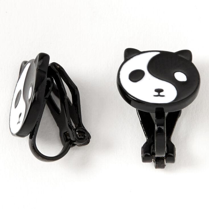 Black Yin Yang Panda Clip On Stud Earrings,