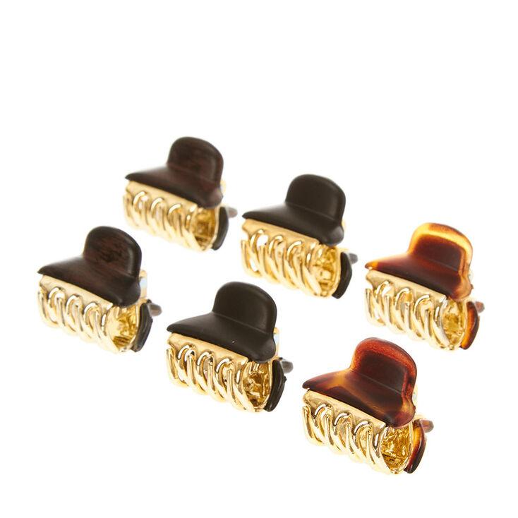 Neutral Mini Hair Claws - Brown, 6 Pack,