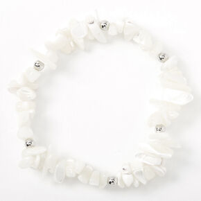 Beaded Puka Shell Stretch Bracelet - White,