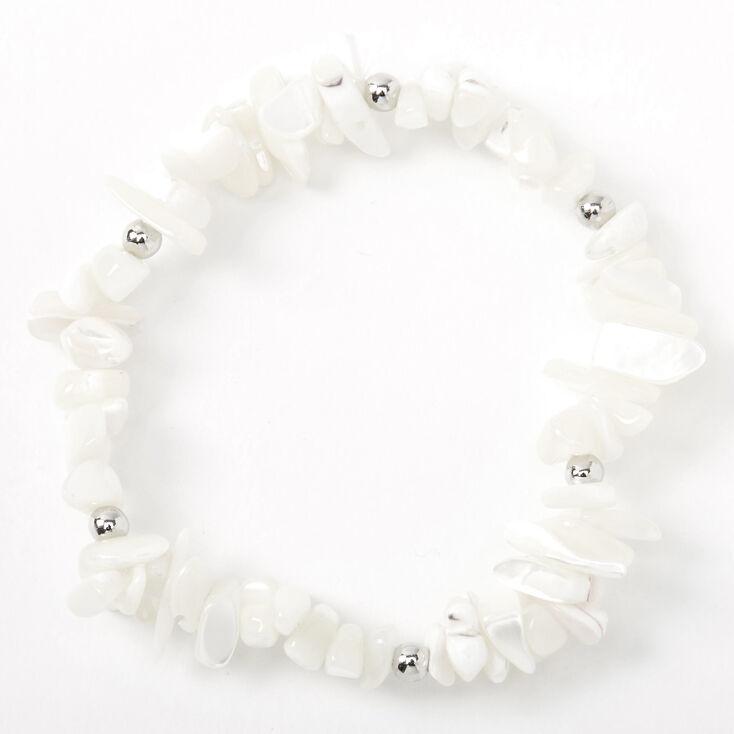 Beaded Puka Shell Stretch Bracelet - White,