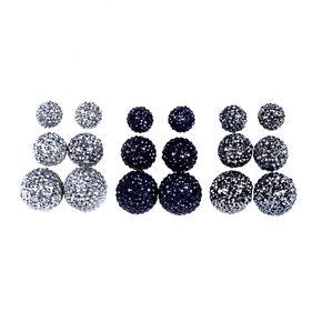 9 Pack Silver Bling Ball Stud Earrings,