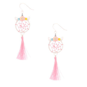 "2"" Unicorn Dreamcatcher Drop Earrings - Pink,"
