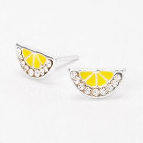 Clous d'oreilles quartier de citron en argent,