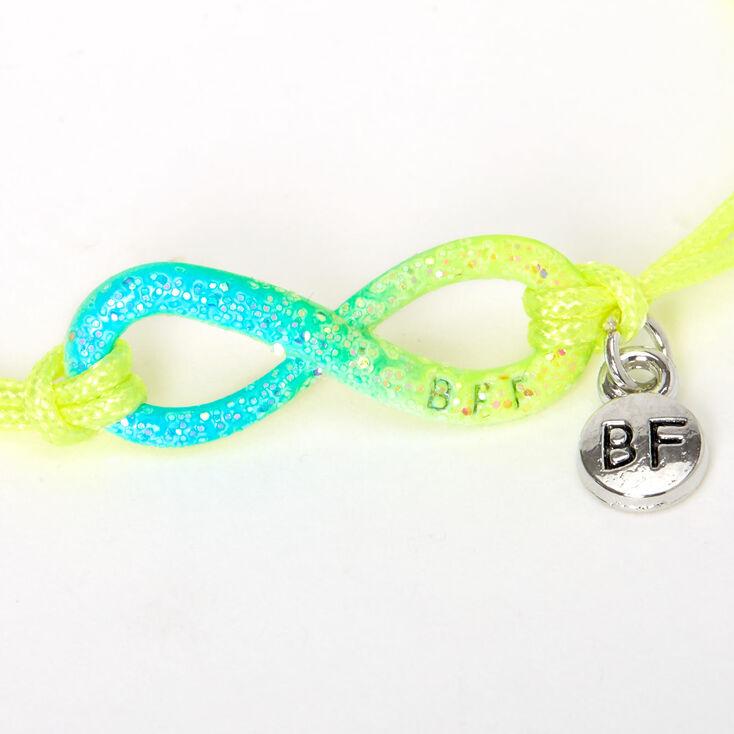 Glitter Neon Infinity Adjustable Friendship Bracelets- 3 Pack,