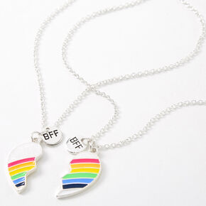 Best Friends Rainbow Heart Pendant Necklaces - 2 Pack,