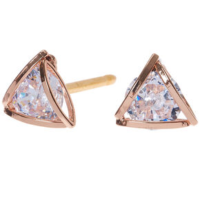 Rose Gold Cubic Zirconia 8MM Round Geometric Stud Earrings,