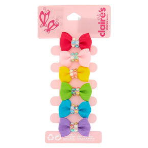 Claire's Club Rainbow Hair Bow Clips - 6 Pack,