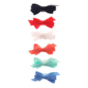 Claire's Club Ribbon Bow Hair Clips - 6 Pack,