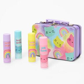 Rainbow Kitty Lip Balm Tin - Purple, 4 Pack,