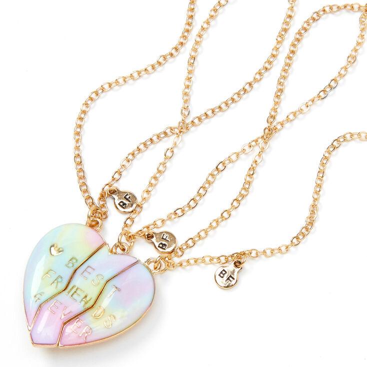 Best Friends Pastel Ombre Heart Pendant Necklaces - 3 Pack,