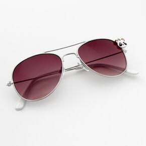 Claire's Club Panda Aviator Sunglasses - White,
