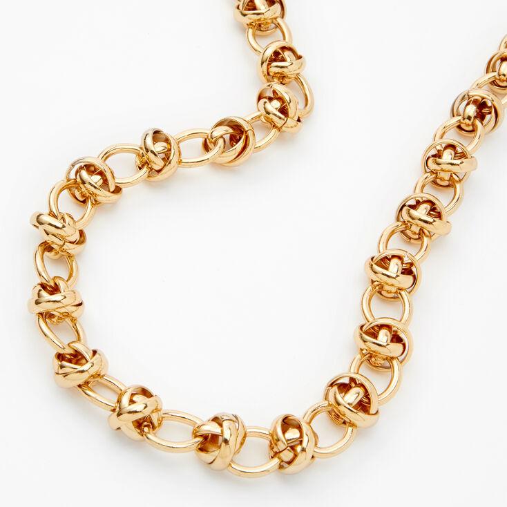 Collier maillons de chaîne noué couleur dorée,