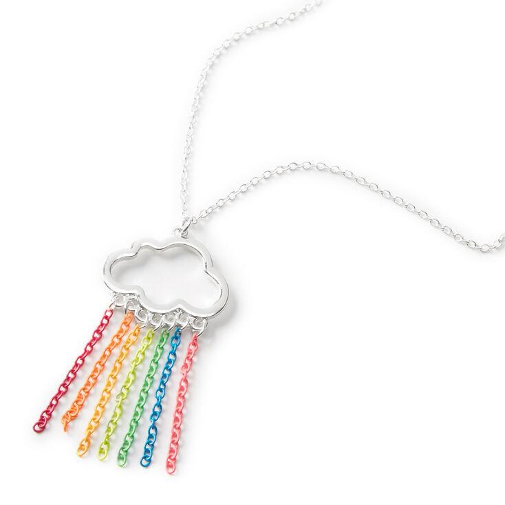 Silver Rainbow Cloud Cascading Chains Pendant Necklace,