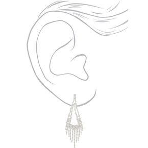 """Silver Rhinestone 3"""" Rectangle Chandelier Drop Earrings,"""