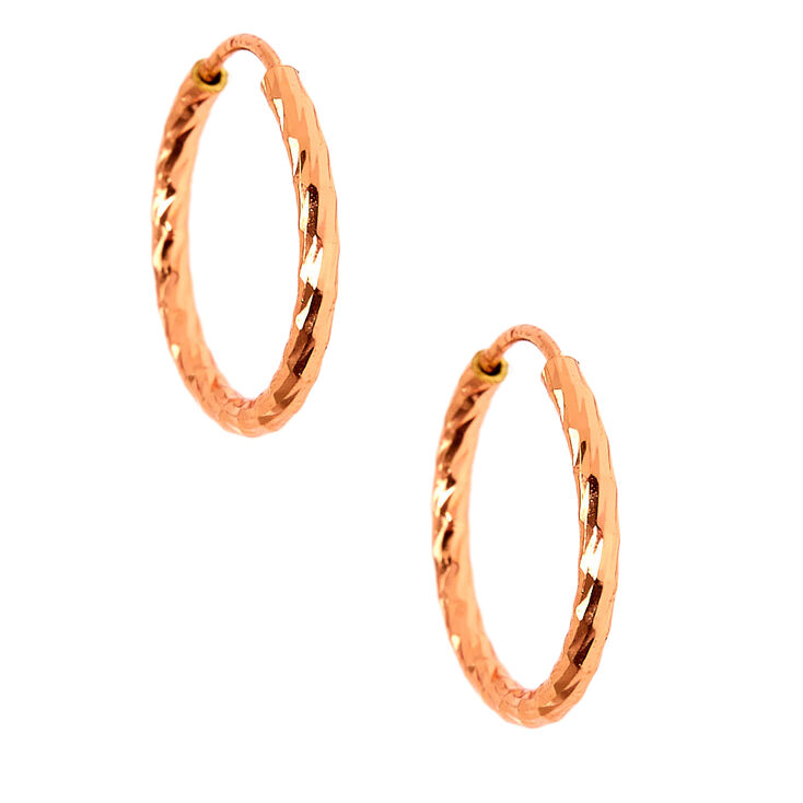 18kt Rose Gold Plated 14MM Textured Hoop Earrings,