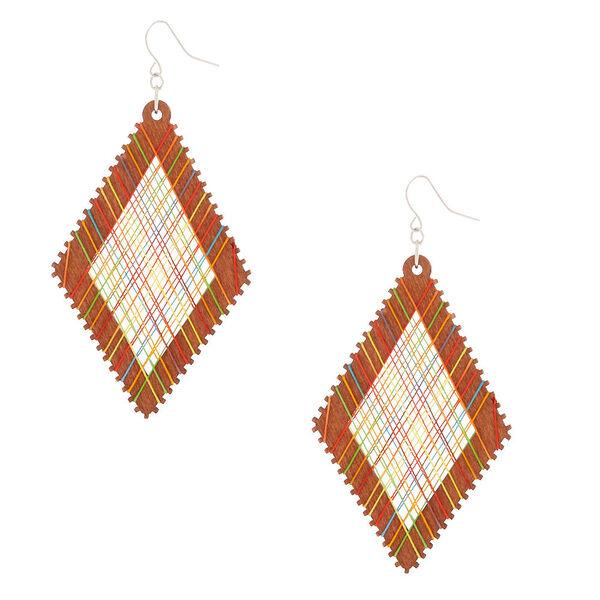 "Claire's - wood 3"" thread diamond drop earrings - 1"