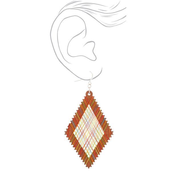 "Claire's - wood 3"" thread diamond drop earrings - 2"