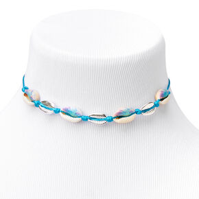 Blue Tie Dye Cowrie Shell Choker Necklace - Silver,