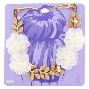 Gold Pearl Ivy Hair Swag - Ivory,