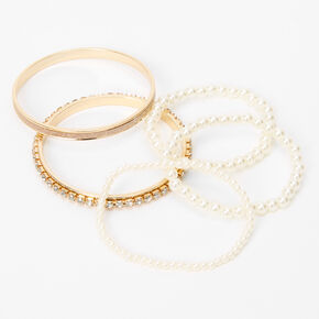 Claire's Club Rose Gold Pearl Bangle & Stretch Bracelets - 5 Pack,
